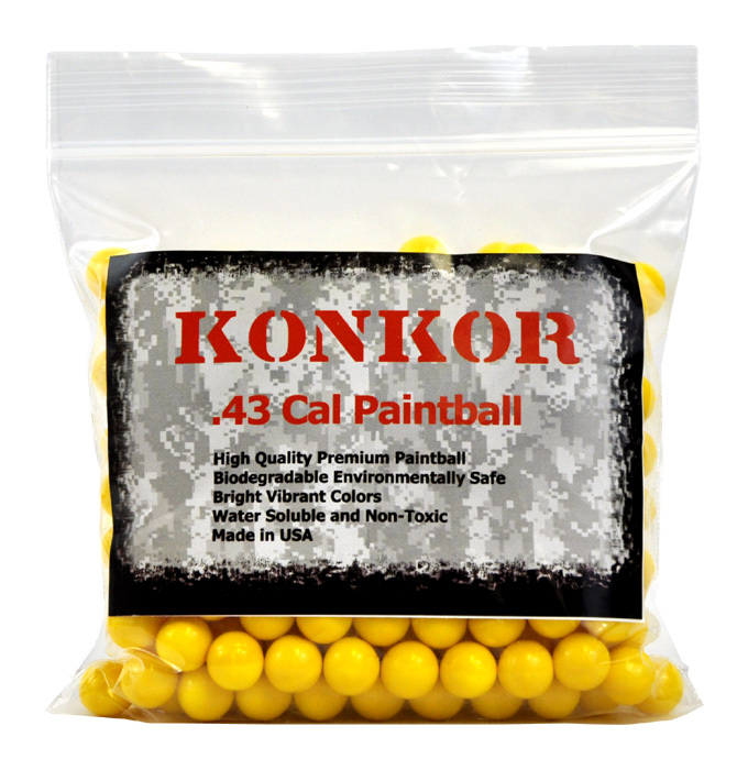 Konkor .43 Caliber Paintballs 250 Ct Yellow